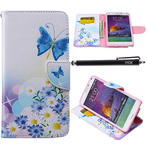 Note 4 Case, Galaxy Note 4 Case, iYCK Premium PU Leather Flip Folio Carrying Magnetic Closure Protective Shell Wallet Case Cover for Samsung Galaxy Note 4 with Kickstand Stand - Butterfly Blossom