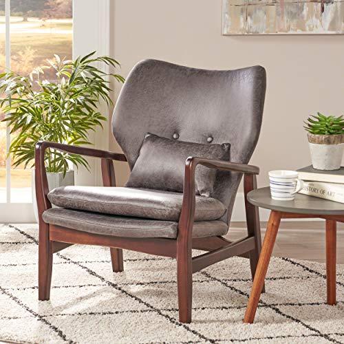 - Great Deal Furniture Ventura Mid Century Modern Microfiber Club Chair, Slate