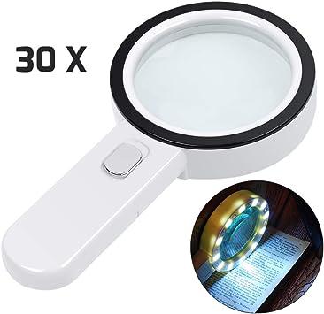 30X Lupa Grande de Mano 12 Lupa iluminada con luz LED Lupa Lupa con luz
