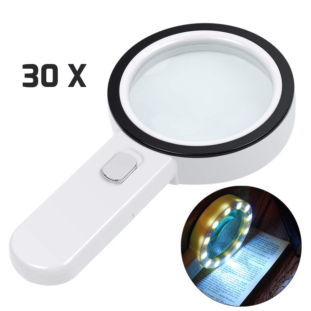 Magnifying Glass with Light, 30X Illuminated Large Magnifier Handheld 12 LED Lighted Magnifying Glass for Seniors Reading, Soldering, Inspection, Coins, Jewelry, Exploring, Macular Degeneration …