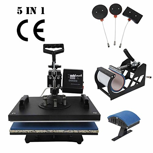 TC-Home Heat Press 5 in 1 Multifunction Sublimation Heat Press Machine Digital Transfer Sublimation T-Shirt Mug Plate Cap Hat (License Plate Machine compare prices)