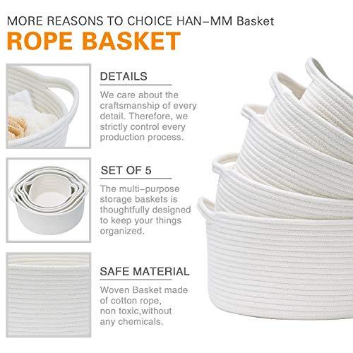 Woven Basket Cotton Rope Bin White Basket Organizer Storage Baskets Set of 5