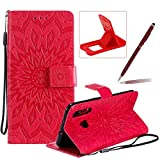 Wallet Case for Huawei Nova 4,Strap Flip Case for Huawei Nova 4,Herzzer Retro Elegant [Red Mandala Flower Pattern] Stand Magnetic Leather Case with Soft TPU