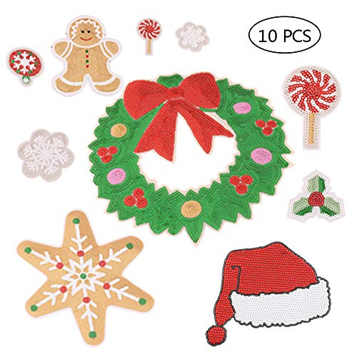 Christmas Embroidery Patches On Or Sew On Patches Applique 10PCS (Appliques Christmas Embroidery)