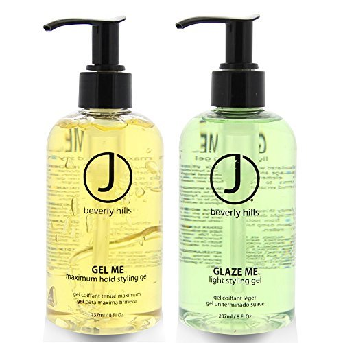 J Beverly Hills Glaze Me Light Styling Gel 8 oz + Gel Me Maximum Hold Styling Gel 8oz