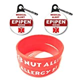 Medical Alert Epipen Inside Tag 2ct/Nut Allergy Bracelets for Kids 2ct Toddler Size