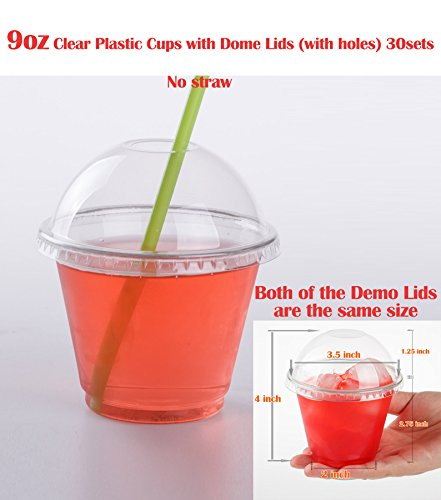 GOLDEN APPLE, 9 Oz. clear plastic cups with Dome lids(with hole)30sets