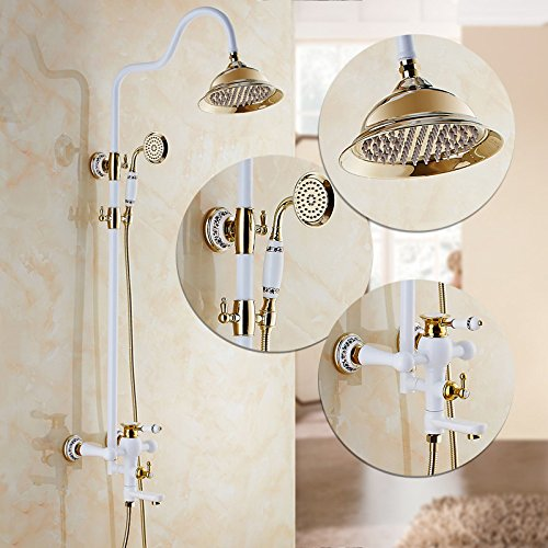 H GFEI Shower set with full copper faucet   white golden bath bathroom shower shower shower faucet   waterfall shower,I