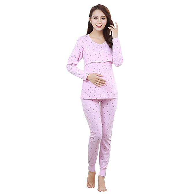 1507ef00f Samber Pijamas Mujer Embarazada Primavera Pijamas Puro Algodón para  Primavera Verano y Otoño Ropa de Dormitorio para Mujer de Maternidad