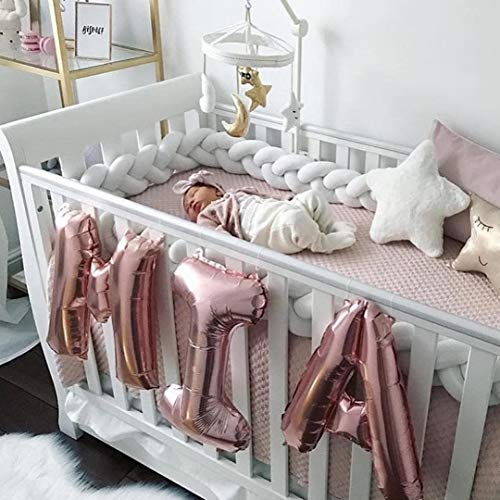 MOMAID Baby Braided Crib Bumper Knotted Plush Soft Nursery Toddler Crib Bedding Sets Decor Handmade Cradle Newborn Pillow Snuggle Sleep Bed Pads (White, Long:4M / 157INCH) from MOMAID