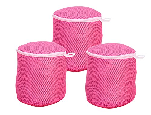 Simpleulife Set of 3 Extra Large Bra Wash Mesh Laundry Delicates Net Bag (A To D Cup) Travel Machine Washer Pattern For Lingerie, Baby Socks, Hosiery, Underwear With Zipper(Red) (Bag Round Mesh)