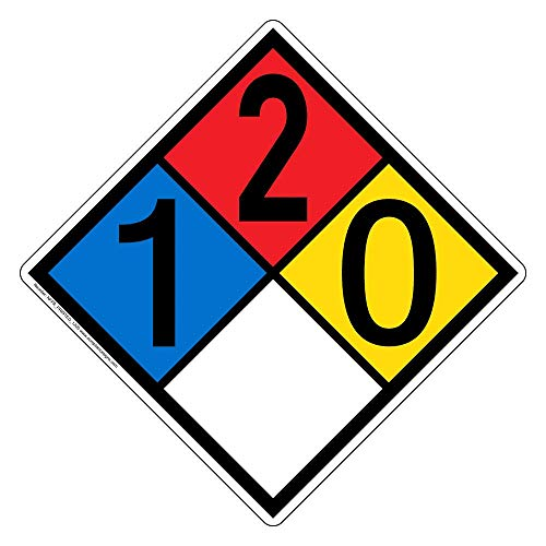 ComplianceSigns Vinyl NFPA 704 Hazmat Diamond Label with 1-2-0-0 Rating, 10 x 10 in. Multi Color