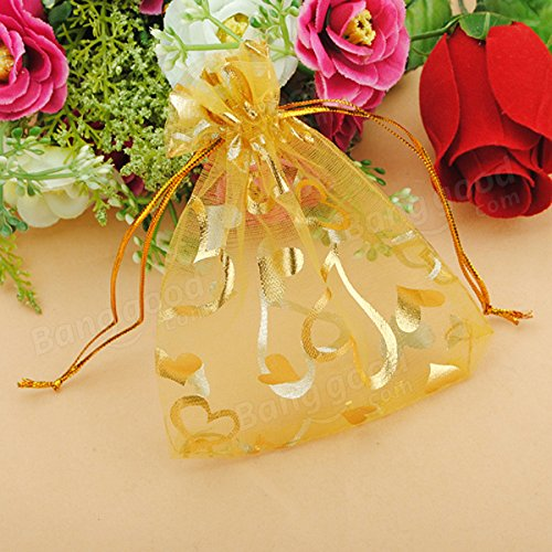 Festival Gifts & Party Supplies Gift Packaging Supplies - 100pcs Golden Luxury Heart Organza Jewelry Favor Gift Bag by Unknown (Image #5)