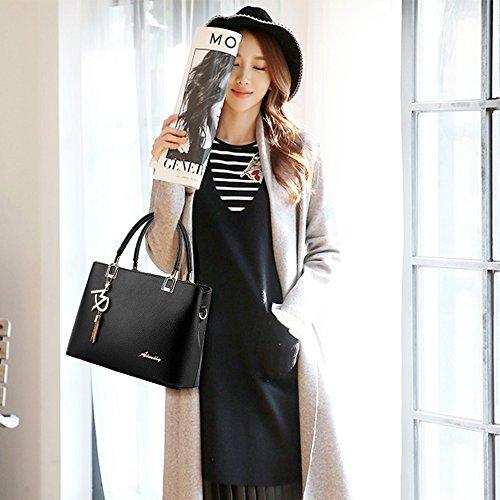 Borsa pelle pelle moda da a donna da Blu con con scuro in pendente in goccia Borsa manico Nero pelle Borsa spalla in r5qFSrwp