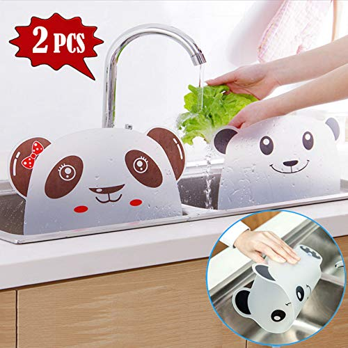 TraGoods Kitchen Water Splash Guard, Sink Water Splash Proof Retaining Plate with Attached Sucker, Kitchen Dish Washing Baffle Board Household Tools, Lovely bear and panda Household Kitchen tool, 2pcs
