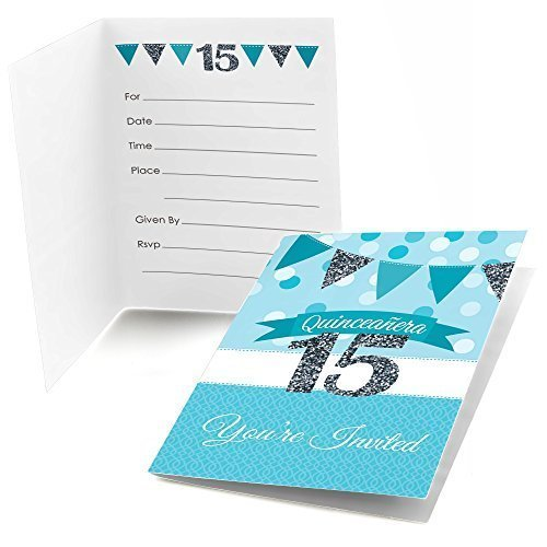 Quinceanera Teal - Sweet 15 - Fill In Birthday Party Invitations (8 count) (15 Invitations)