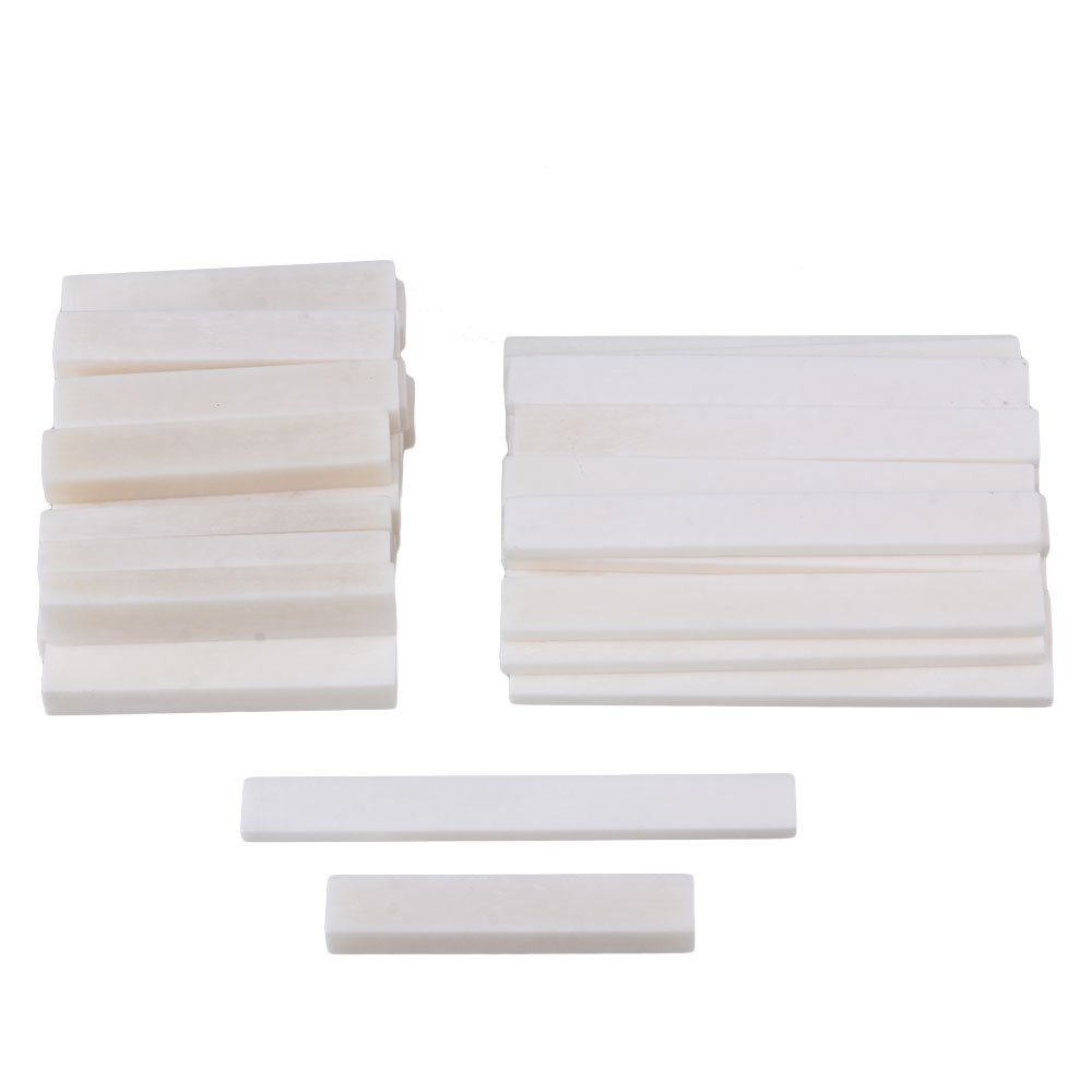 BQLZR White Blank Bone Nut and Bridge Saddle for Acoustic Guitar Classical Guitar DIY Accessories Pack of 50