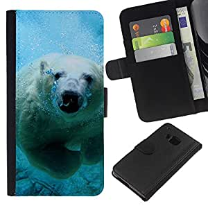 Protector de cuero de la PU de la cubierta del estilo de la carpeta del tirón BY RAYDREAMMM - HTC One M7 - Natación linda del oso polar