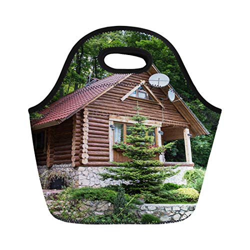 (Semtomn Lunch Bags Brown Cabin Chalet From Logs in the Forest Green Neoprene Lunch Bag Lunchbox Tote Bag Portable Picnic Bag Cooler Bag)