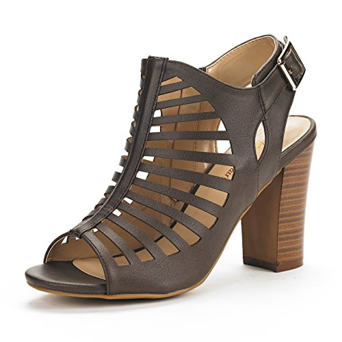 DREAM PAIRS Women's Mumbai Brown Pu Mid Chunky Heel Pump Sandals - 9.5 M US by DREAM PAIRS