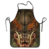 Apron Chinese Emperor Dragon Design Kitchen Funny Apron For Kitchen BBQ Barbecue Cooking Grilling Tailgate Bacon Apron for Tailgating BBQ Grill Pit Master Black