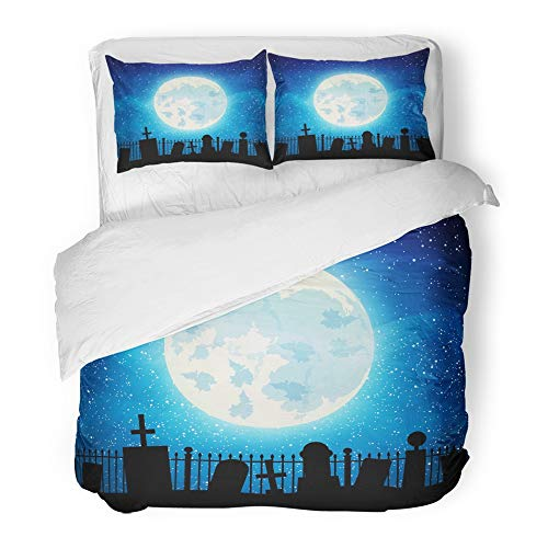 Emvency 3 Piece Duvet Cover Set Brushed Microfiber Fabric Breathable Fence Graveyard Cemetery Tomb with Full Moon Halloween Silhouette Abstract Bedding Set with 2 Pillow Covers King Size