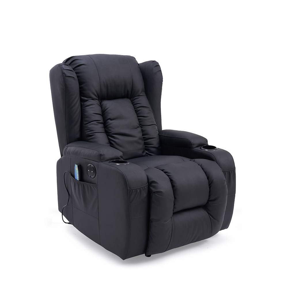 OLFFF 10 in 1 Electric Recliner Massage Chair Bonded Leather Heated Seat Armchair Winged Backrest Sofa with Footrest for Home Living Room Office - Black