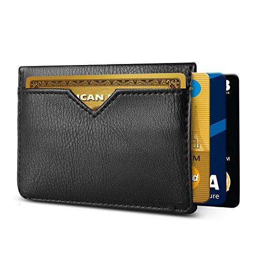 Slim RFID Wallets for Men Leather - Front Pocket Card Holder Sleeve - RFID Blocking (OneSize, Black[CSC6-B-E-RFID]) by HUSKK