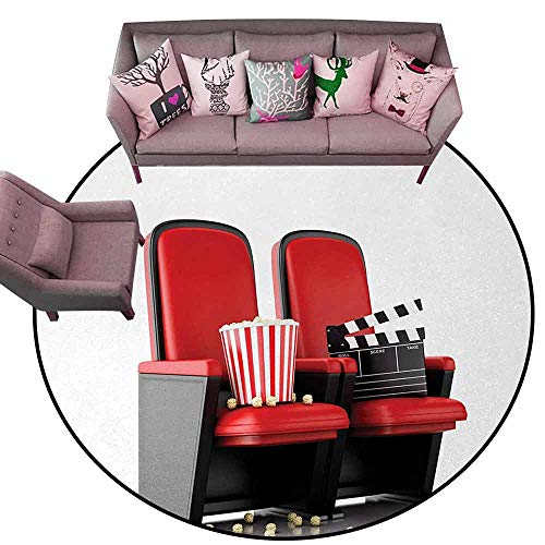 Kitchen Mat Movie Theater,3D Illustration Cinema Concept Clapper Board and Popcorn on Theater Seat,Red Black White Diameter 66