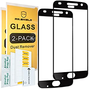 [2-PACK]-Mr Shield For Motorola MOTO Z2 Play [Cut Out for Logo Version] [Tempered Glass] [Full Screen Glue Cover] Screen Protector with Lifetime Replacement Warranty from Mr Shield