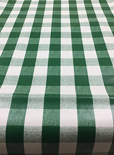 "Berrnour Home Vinyl Green Checkered Design 55"" X 102"" Indoor/Outdoor Tablecloth with Non-Woven Backing"
