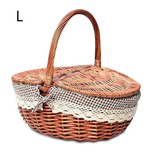 Hand Made Wicker Basket Wicker Camping Picnic Basket Shopping Storage Hamper and Handle Wooden Color Wicker Picnic Basket,Coffee,L ()