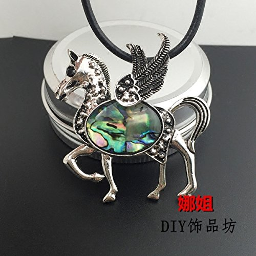 usongs Peg shell necklace pendant ancient silver necklace pendant color shell mosaic women girls models jewelry accessories DIY only spot