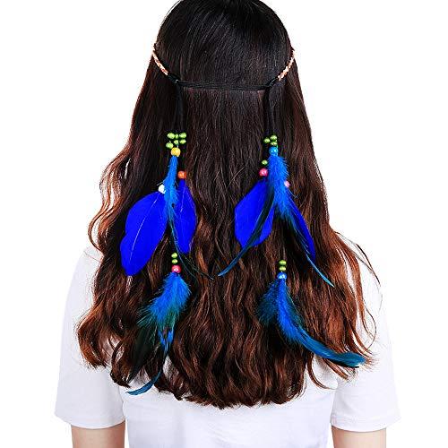 Feather Headband Hippie Indian Boho Hair Bands Tassel Bohemian Halloween Hair Hoop Women Girls Crown Hairband Party Decoration Headdress Cosplay Costume Headwear Headpiece Hair Accessories Blue