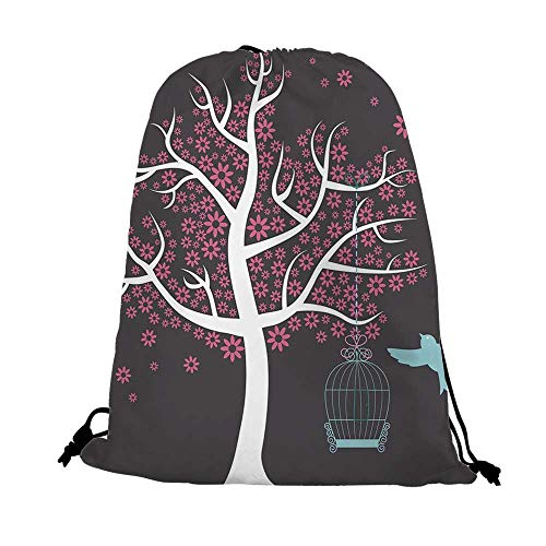 Tree Nice Drawstring Bag,Tree with Bird Cage and a Bird Flowers for Leaves Nature Freedom Decorative For traveling,17.7