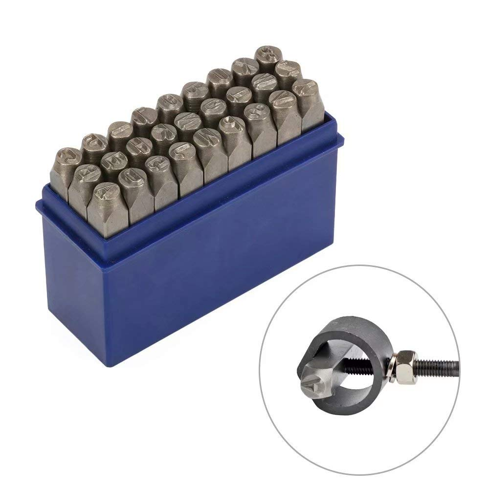 1//4 6mm High Hardness Carbon Uppercase Number Metal Stamp Steel Reverse Punch Set DIY Tool for Mold Metal Wood and Leather 9Pcs 0-9