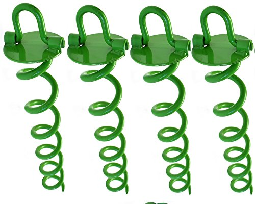 Ashman Premium Spiral Ground Anchor - Outdoor Ground Anchor 16 Inches Green, with Folding Ring for Securing Tents, Canopies, Sheds, Car Ports, Swingsets; Powder-Coated Solid Steel Auger – Pack of 4