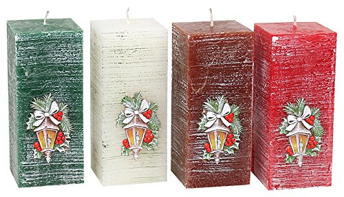 Sigro Hejo 4 Assorted Colours Rustic Square Candles, 70 x 150 mm, Ceramic, Multicolour, One Size Sigro_57 905