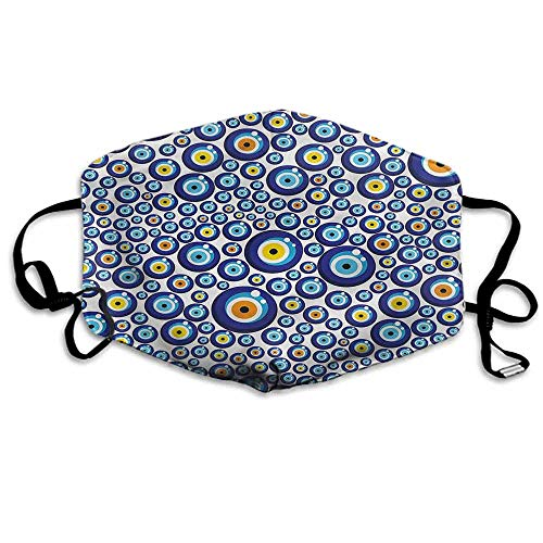 "Evil Eye Fashion Mouth Mask Turkish Traditional for Cycling Camping Travel W4""x L7"""