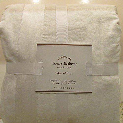 Pottery Barn LINEN With SILK TRIM Duvet Cover King/California King ~*White*~ (Barn Silk Pottery Duvet Linen)