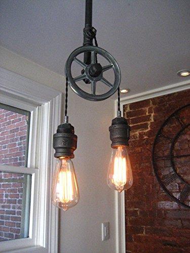 Single Pulley Ceiling Light w/ Steel Sockets