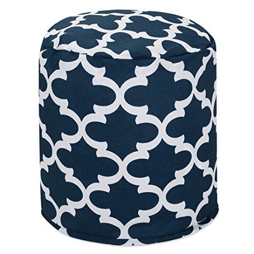 (Majestic Home Goods Navy Trellis Indoor/Outdoor Bean Bag Ottoman Pouf 16