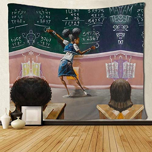 SARA NELL Black Girl Wall Tapestry Hippie Art Tapestry Afro Girls African American Student Tapestries Wall Hanging Throw Tablecloth 60X90 Inches for Bedroom Living Room Dorm Room