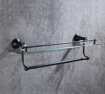 Suministros de baño Inodoro-baño Conjunto de herrajes de cristal negro 304 Acero inoxidable Carrito