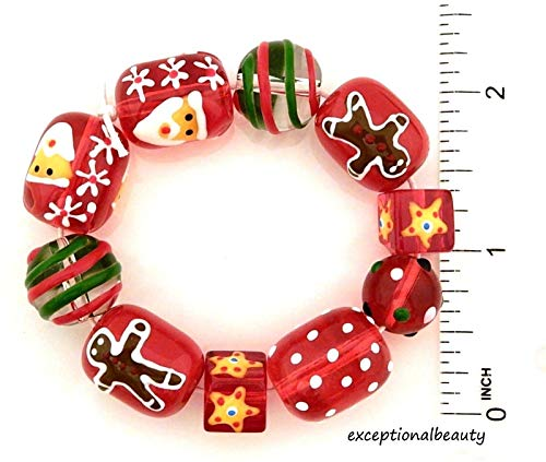 Pendant Jewelry Making 10 Hand Painted Christmas Beads Lampwork Glass Gingerbread Man Santa Red Green -