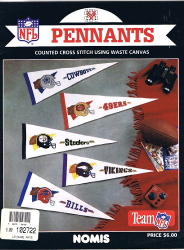 NFL Pennants, Counted Cross Stitch Using Waste Canvas.