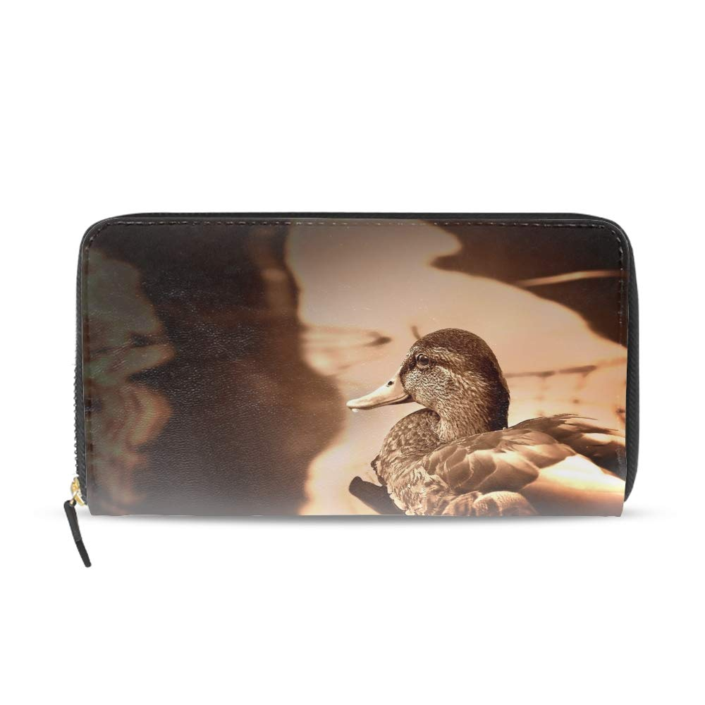 Women Girls Long Clutch Duck Wallet Printed PU Leather Travel Purse Card Holder