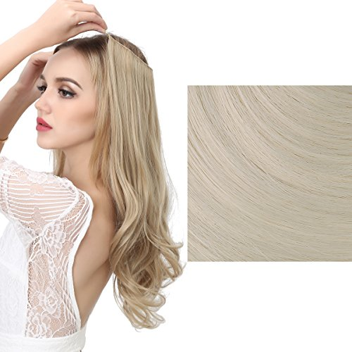 SARLA Halo Synthetic Hair Extension Flip In Hairpieces Curly Wavy Hidden Halo Hair Extensions M01 (#60 platinum (Headband Hair Extensions)