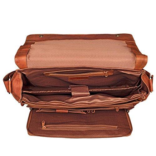 STILORD 'Jan' Vintage Maletín para el ordenador portátil 15.6 pulgadas Bolso Bandolera cuero auténtico de búfalo, Color:cognac - brillante cognac-marrón
