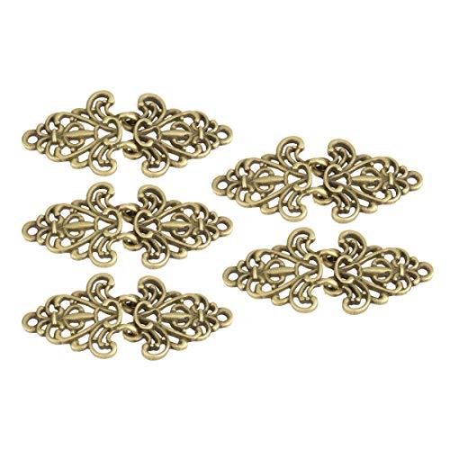 YiZYiF 5 Pairs Vintage Elegant Cape or Cloak Clasp Filigree Trivet Decorative Sew On Hooks and Eyes Cardigan Clip Sweater Fastener Clip Antique Bronze One - Trivet Girl